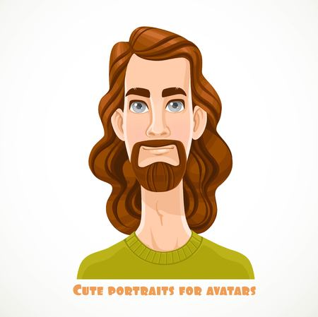 Cute long haired bearded men portrait for avatar isolated on a white background