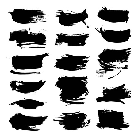 black textured background: Abstract big black textured strokes big set isolated on a white background