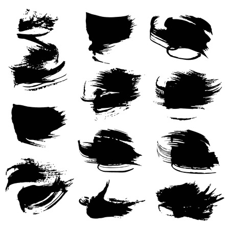 black textured background: Abstract black textured strokes set isolated on white background