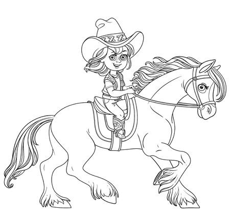 Leuk klein meisje in een cowboy pak pak een paard geschetst geïsoleerd op een witte achtergrond