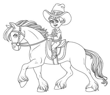 Leuke kleine jongen in een cowboy pak rijden op een paard geschetst geïsoleerd op een witte achtergrond