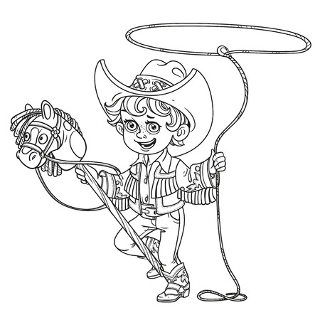 Cute little boy playing with a horse on a stick and lasso outlined isolated on a white background Illustration