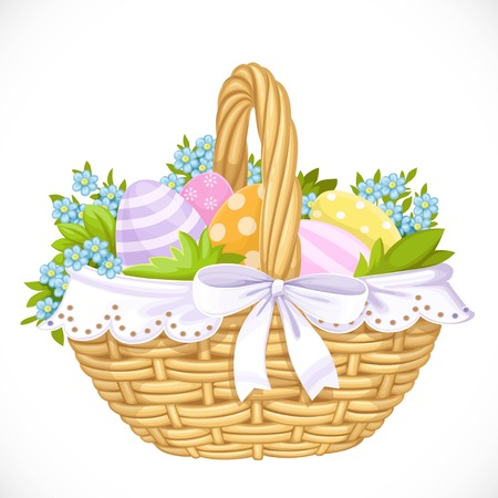 Basket with Easter eggs and blue flowers isolated on a white background