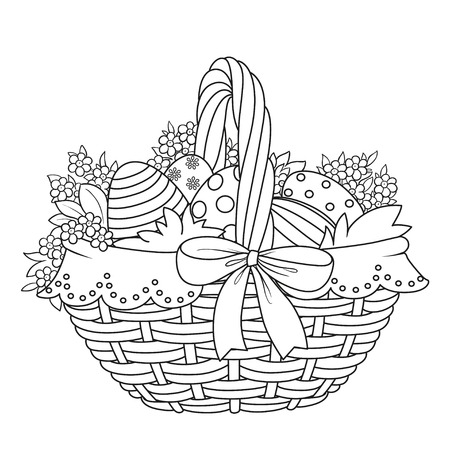 Basket with Easter eggs and flowers outlined for coloring on a white background Çizim