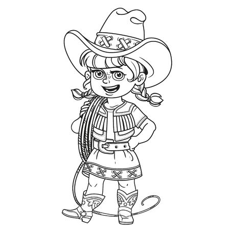 Cute girl in a cowboy suit is holding a lasso on her shoulder outlined isolated on a white background