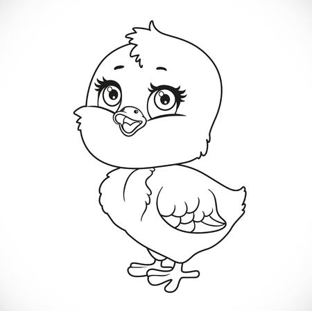 loveable: Cute baby chick outlined for coloring isolated on a white background Illustration