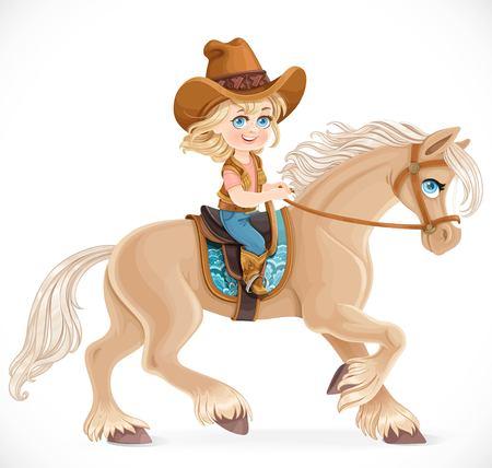 흰 배경에 고립 된 말을 타고 카우보이 정장에 귀여운 아가씨 스톡 콘텐츠 - 76576185