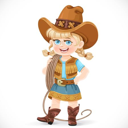 Cute girl in a cowboy suit is holding a lasso on her shoulder isolated on a white background Vektorové ilustrace