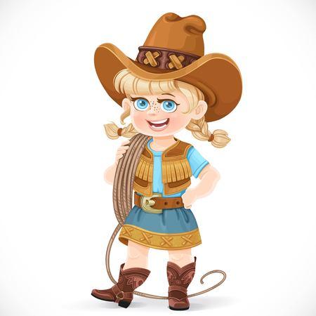 Cute niña en un traje de vaquero es la celebración de un lazo en su hombro aislado en un fondo blanco Ilustración de vector