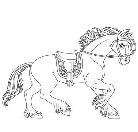 Cute cartoon horse harnessed in a harness runs forward outlined isolated on a white background Illustration