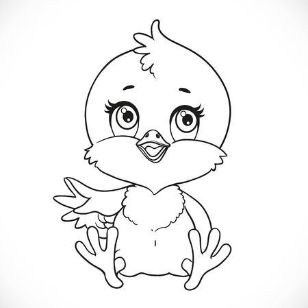 흰색 배경에 귀여운 아기 병아리 앉아 착 색에 대 한 개요 스톡 콘텐츠 - 76576493