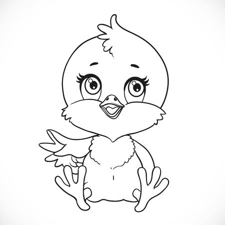 Cute baby chick sit on a white background outlined for coloring