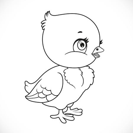 Little baby chick outlined for coloring isolated on a white background