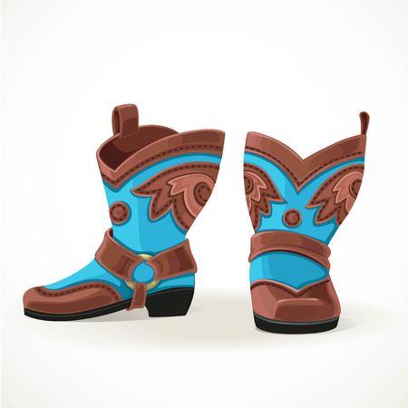 Stivali da cowboy ricamati di pelle marrone e blu. Archivio Fotografico - 76666250
