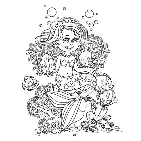 Cute little mermaid girl sits on a stone playing with fish outlined. Illustration