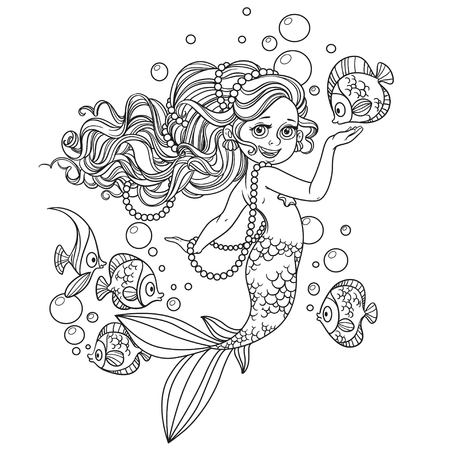 Beautiful little mermaid girl outlined isolated on a white background