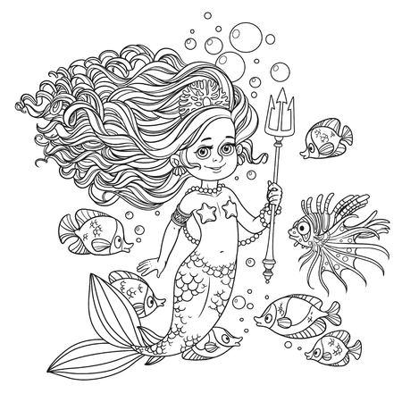 Mooie zeemeermin meisje omringd door een vis houdt een trident geschetst geïsoleerd op een witte achtergrond
