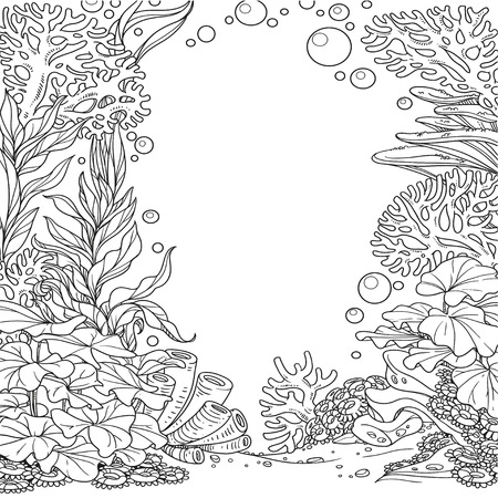 Underwater world with corals, seaweed and anemones outlined isolated on white background