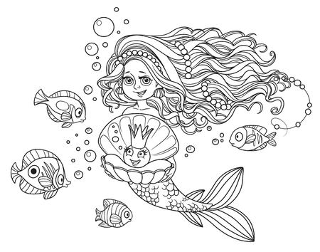Beautiful mermaid girl holding a pearl in a shell outlined isolated on white background Illustration