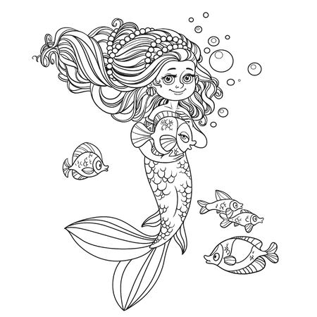 Cute little mermaid girl holds a pet fish outlined isolated on white background Illusztráció
