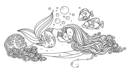 Cute little mermaid sleeps on a rock with corals outlined isolated on a white background Illusztráció