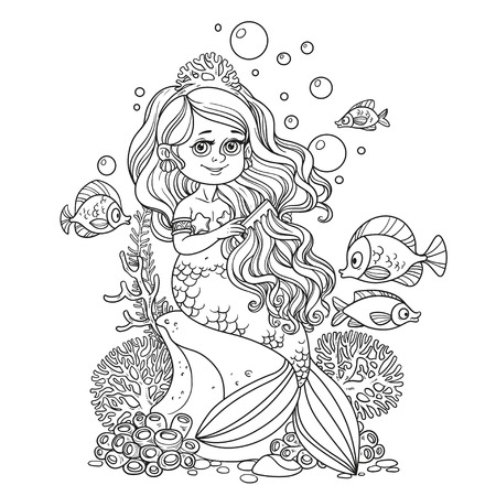 fish tail: Beautiful little mermaid girl sits on a rock and combs her hair with a comb outlined isolated on a white background Illustration