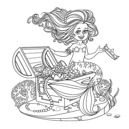 Beautiful little mermaid girl is sitting on a treasure chest and keep the crown on the hand outlined isolated on white background