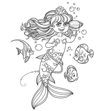 Cute little mermaid girl floats in water and listens shell outlined isolated on a white background