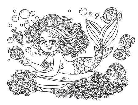 Beautiful mermaid girl lies on a rock outlined isolated on a white background Illustration