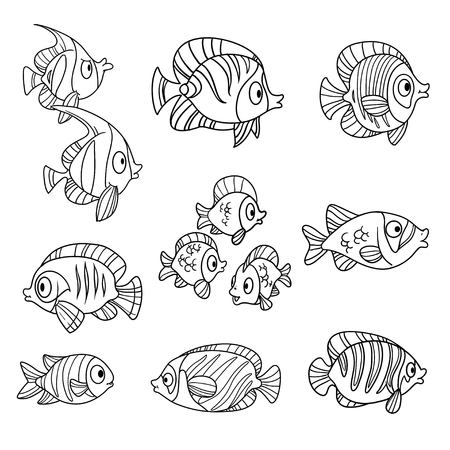 fish tail: Cute cartoon sea fishes outlined isolated on a white background Illustration