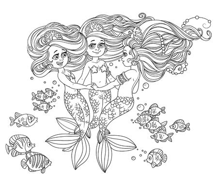Three beautiful mermaid girls swirl in dance surrounded by fish outlined isolated on white background