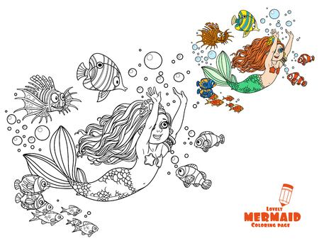 nude little girls: The beautiful girl the mermaid floats having extended hands forward coloring page on white background Illustration