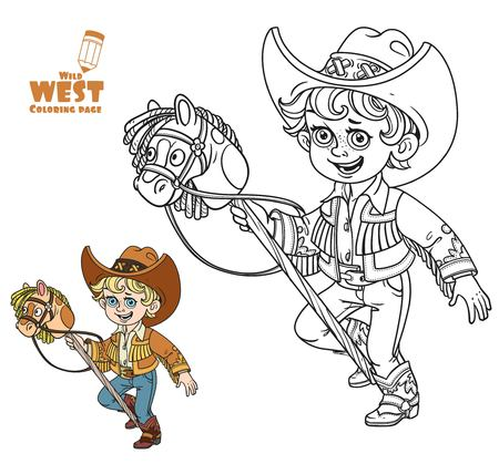 Cute little boy playing with a horse on a stick coloring page on a white background Illustration