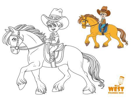 Cute little boy in cowboy suit riding on a horse coloring page on white background Иллюстрация