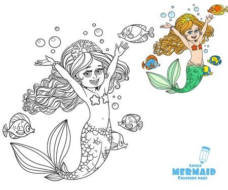 Cute Girl Sirena Trenza Amigo Sirena Para Colorear Página En El ...