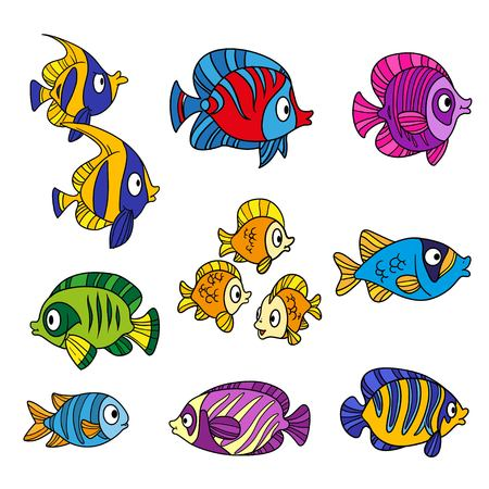 Cute cartoon sea fishes outlined isolated on a white background Ilustração