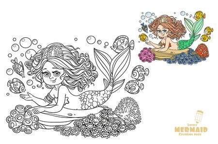 Beautiful mermaid girl lies on a rock coloring page on a white background