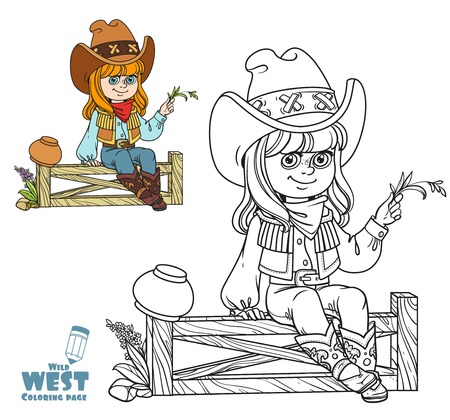 Cute girl in a cowboy costume sits on a fence coloring page on a white background