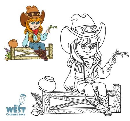Jolie fille dans un costume de cow-boy est assis sur une page de coloriage de clôture sur fond blanc Banque d'images - 77998817