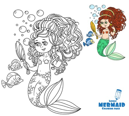 Beautiful Mermaid Girl Pretties Herself In Front Of A Hand Mirror Coloring Page On White