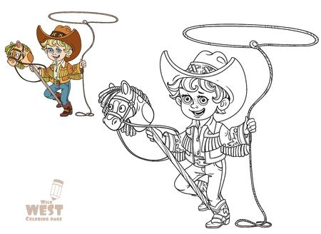 Cute little boy playing with a horse on a stick and lasso coloring page on a white background Illustration