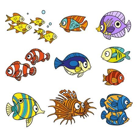 fish tail: Cartoon sea fishes set coloring page on a white background Illustration