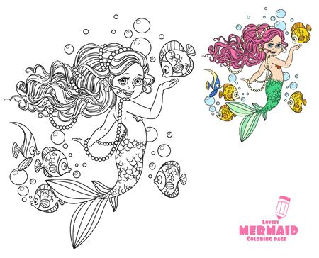 Beautiful little mermaid girl coloring page on a white background Illustration