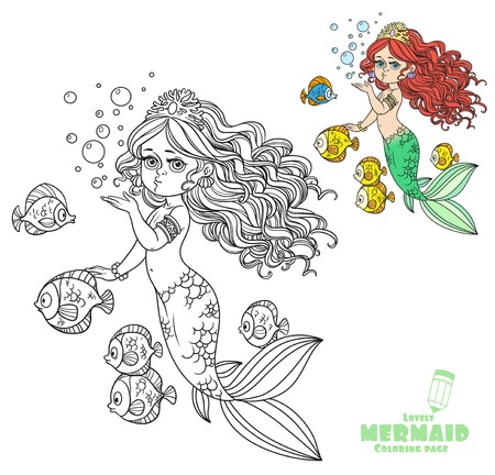 Beautiful mermaid girl sends an kiss coloring page on a white background Ilustracja