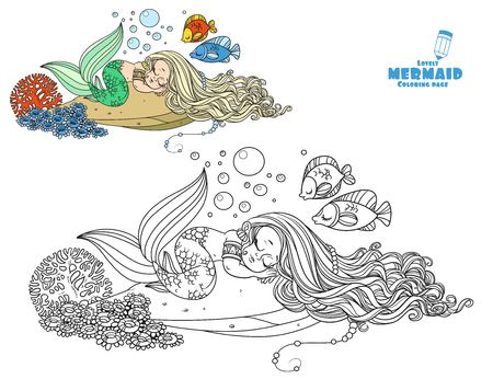 Cute little mermaid sleeps on a rock with corals coloring page on a white background Ilustracja