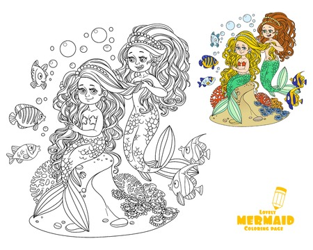 Cute girl mermaid plait braids friend mermaid coloring page on white background Ilustracja