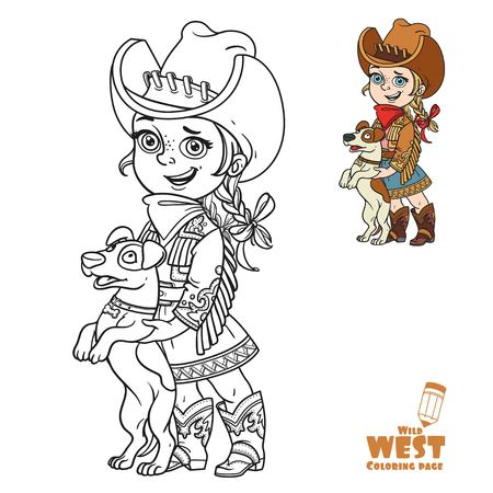 Cute little girl in a cowboy costume playing with a dog coloring page on a white background