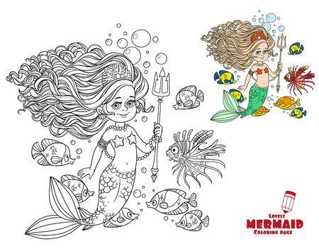 Mooie meermin meisje omringd door een vis houdt een kleurrijke kleurrijke pagina op een witte achtergrond