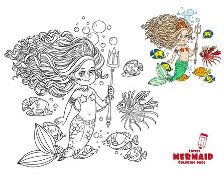 Beautiful mermaid girl surrounded by a fish holds a trident coloring page on a white background Illustration