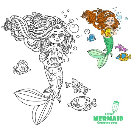 Cute little mermaid girl holds a pet fish outlined isolated on white background Illustration
